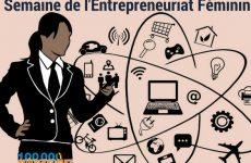 Image illustrant la Semaine de l'Entrepreneuriat Féminin : femme d'affaire à côté d'un nuage d'objets liés au travail